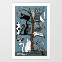 CAT TREE Art Print by Terry Runyan - $20.00