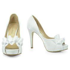 Sapato de Noiva  Peep Toe Laura Porto - Branco - MH070: Femininos