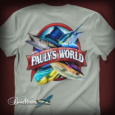 Pauly's World Name-drop fishing t-shirt design. Graphic Design.