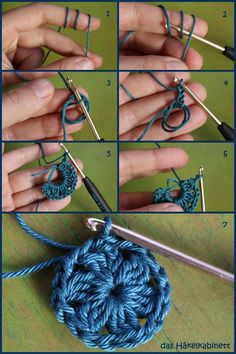 How to start with a magic ring-So startest du mit einem Zauberring preparation - Magic Ring Crochet, Crochet Rings, Crochet Necklace, Magic Circle Crochet, Knitting Needles, Free Knitting, Knitting Patterns, Crochet Patterns, Start Knitting