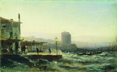 This painting of Baku from 1861 looks like it has a modern skyscraper in it Russian Landscape, Modern Skyscrapers, Art Database, Serbian, Landscape Paintings, Gallery, Artist, Pictures, A4 Poster