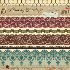 French lace borders for photoshop - graphic design - printable
