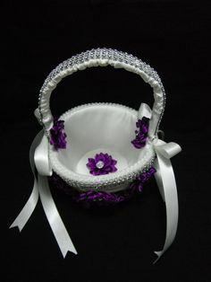 Purple basket and garter setBridal set Purple by AngelicasBridal, $90.00