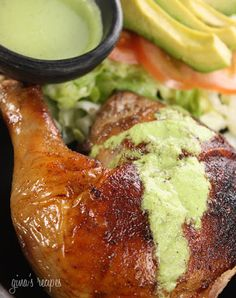Peruvian Roasted Chicken with Aji Verde Shared on https://www.facebook.com/LowCarbZen | #LowCarb #Dinner