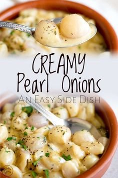 If you are looking for easy and unique side dishes, then these creamy pearl onions will fit the bill. Lightly caramalized pearl onions in cream sauce, flavoured with thyme and black pepper, this veget Side Dishes For Ham, Vegetarian Side Dishes, Vegetable Side Dishes, Roast Beef Side Dishes, Best Thanksgiving Side Dishes, Thanksgiving Recipes, Easter Recipes, Thanksgiving 2020, Pearl Onion Recipe