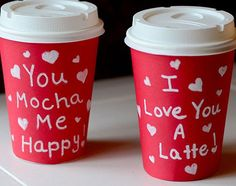 Give a fun caffeinated Valentine's Day gift. Here's a bunch of Starbucks Valentine's Day greeting cards, paper cup ideas, and Valentine's Day coffee related printables. Diy Valentines Gifts For Him, Handmade Valentine Gifts, Happy Valentines Day, Valentine Coffee, Handmade Gifts, Starbucks Valentines, Valentine Party, Kids Valentines, Homemade Valentines