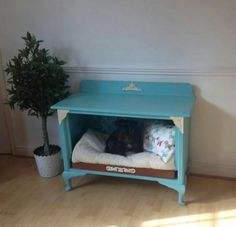 Dog bed converted from cupboard