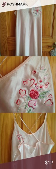 Pink slip/lingerie Pink nighty with embroidered hearts and flowers on left side, Criss cross straps in back. Great condition. Cinema Intimates & Sleepwear Chemises & Slips