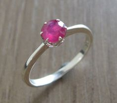 Ruby Promise Ring Stack Ring Silver Ruby Ring Solitaire by Belesas