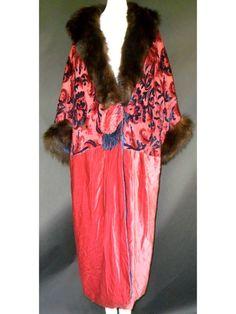 1920's Raised Silk Velvet Opera Coat,  Paris label MMES DESBUISSONS & HUDELIST 10 RUE ROYALE PARIS
