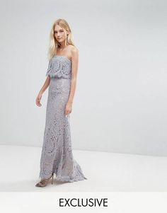 fa0e8612073 Jarlo All Over Lace Bandeau Maxi Dress Crochet Bridesmaids Dresses