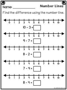 Number Lines Subtraction Worksheets First Grade Math Worksheets, Addition Worksheets, 1st Grade Math, Number Line Subtraction, Addition And Subtraction, Subtraction Kindergarten, Subtraction Worksheets, Line Math, Framed Words