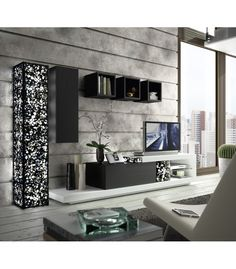 mueble de saln de estilo moderno lacado en blanco en y negro iluminacin con piedra