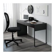 MICKE Desk, black-brown black-brown 55 7/8x19 5/8