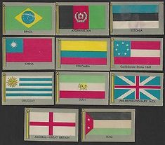 Includes card #'s 8, 9, 10, 11, 12, 13, 26, 27, 31, 45, 47, 50, 52, 61, 64, 66, 70, 71, 82 & 86. CONDITION: VG/EX TO EX+. Cards pictured are the exact ones you will receive. Flags Of The World, Cards, Pictures, World Flags, Photos, Photo Illustration, Map, Playing Cards, Resim