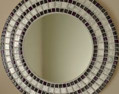 Beautiful Handmade Mosaic Mirror Bevelled Edge white ceramic and blue foiled glass Mosaic Tile Mirror Mosaic, Glass Mosaic Tiles, Mosaic Art, Large Round Mirror, Round Mirrors, Handmade Mirrors, Mirror Plates, Beautiful Mirrors, White Ceramics