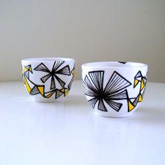 Ceramic Cups Geometric Gray Yellow Black White by sewZinski, $35.00