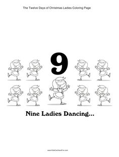 12 Days Of Christmas Nine Ladies Dancing Coloring Page
