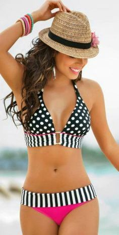 Can't Take Your Eyes Off Me Banded Halter Bikini www.thechicfind.com