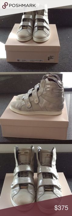 Authentic JIMMY CHOO tennis shoe Jimmy CHOO  Authentic Coarse Glitter Suede Off White tennis shoe in pre-loved condition. The tip of shoes has a slight pink discoloration due to sun. Jimmy Choo Shoes Sneakers