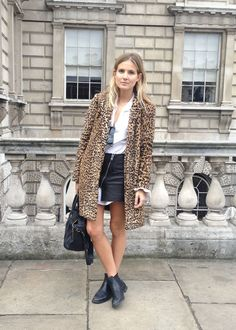 Leopard coat and ankle boots.