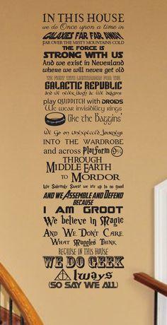 In this House We Do Geek CUSTOMIZABLE Vinyl wall Decal Fantasy fandom geekery nerd nerdy cosplay storybook nursery living room childrens - Geek Stuff Sala Geek, Geek Culture, Storybook Nursery, Teacher Signs, In This House We, The Force Is Strong, Disney Quotes, Book Fandoms, Vinyl Wall Decals