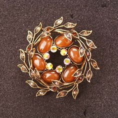 Retro Rhinestone Jewelry Vintage Brooch Pins Luxury Resin Flower Leaf Antique Brooches For Women #Affiliate