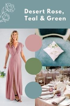 desert rose, teal and green wedding palette.desert rose, lavender, and peach wedding palette. This wedding theme looks especially great for spring and summer weddings. Pink bridesmaid dresses for the win! Flattering Bridesmaid Dresses, Dusty Pink Bridesmaid Dresses, Blush Pink Wedding Dress, Bridesmaid Dress Styles, Blush Pink Weddings, Popular Wedding Colors, Summer Weddings, Desert Rose, Green Wedding