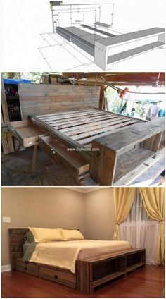 Want to buy a new wooden bed for your room and also planning to buy a wooden storage item then simply craft this pallets bed with storage for your room. The bed design is fabulous in appearance as well as comfortable as shown in the picture given below. This recycled wooden item will serve you with two in one pallets plan.