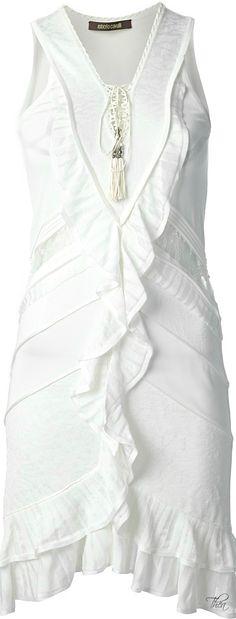 Roberto Cavalli ● White silk blend dress