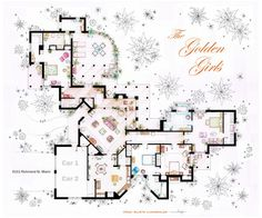 Golden Girls house floor plan - I have been looking for an accurate version of this for ages - considering half the time the woman walk to different rooms in the show it was nice that someone finally got it right