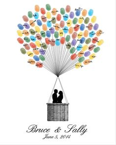 Wedding Guest Book Hot Air Balloons - Printable PDF File - Digital Fingerprint Signature Thumbprint - Custom color, size, text and language