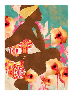 Poolside print by {COZAMIA}, african art, colorful art, summer art,