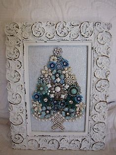 vintage jewelry framed Christmas tree - handcrafted - Serenity Blue on eBay