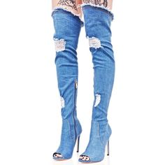 Denim Distressed Thigh Boots ($70) ❤ liked on Polyvore featuring shoes, boots, denim thigh-high boots, high heel stilettos, above knee boots, stretch boots and blue boots