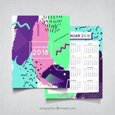 2018カラフルなメンフィスカレンダー 無料ベクター