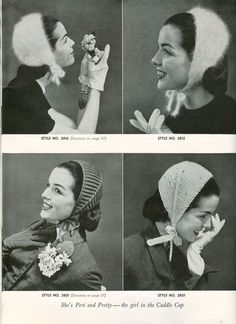 Fabulous  vintage knitting pattern from 1956 for ladies ear caps or ear cosies.