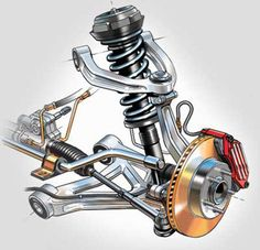 Technical illustration of automotive front suspenion and brake assembly. This illustration was created for a textbook cover. Automotive Engineering, Automotive Design, Mechanical Design, Mechanical Engineering, Suspension Workout, Carros Bmw, Piece Auto, Suspension Design, Ex Machina