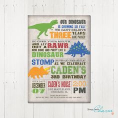 Hey, I found this really awesome Etsy listing at https://www.etsy.com/listing/209546075/dinosaur-birthday-invitation-dinosaur
