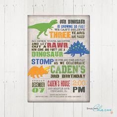 Dinosaur Birthday Invitation Dinosaur by StyleswithCharm on Etsy