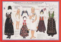 Lina & Synnove, paper dolls no. 10 with Norwegian National Costumes from Oppland, Buskerud, Sogn og Fjordane, and Nordfjord Paper Doll Costume, Paper Doll Craft, Doll Crafts, Paper Toys, Diy Doll, Paper Crafts, Around The World Theme, Costumes Around The World, Usa Culture