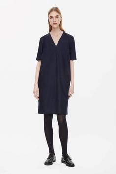 Short v-neck wool dress