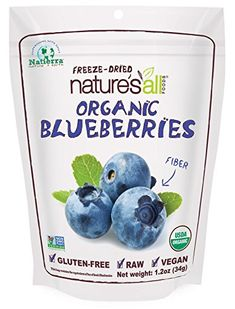 """""""Natierra Nature's All Foods Freeze-Dried Blueberries"""" with: organic blueberries. Non-GMO. [Be Aware: Always Check Actual Product Label In Your Possession For The Most Accurate Ingredient Info Before Use Due to Potential Changes. Organic Blueberries, Dried Blueberries, Organic Fruit, Dried Bananas, Fruit Snacks, Yummy Snacks, Freeze Dried Fruit, Freeze Drying Food, Homemade Scrub"""