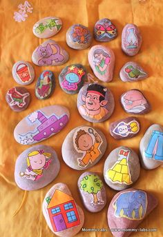 """How to make story stones and facilitate Storytelling"" what good idea :). Would really help with reading comprehension and retelling stories."