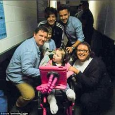 Not fair I'm mentally disabled I have a rare mental disorder called Asperger's Syndrome and I should have a chance to meet One Direction. And Louis should tweet about getting donations for Asperger's Syndrome. Dream come true: The boybander's mother Johanna arranged for Louis and his bandmates to meet six-year-old Georgia Edwards backstage at one of their gigs