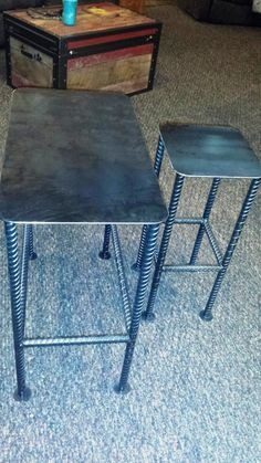 Custom Recycled Rebar Table Base with Rectangular Metal Table Top Left Bare Metal with Clear Coat Finish in Just the Size you Need – Metal Tables Diy Welding, Welding Table, Metal Welding, Metal Projects, Welding Projects, Diy Projects, Steel Furniture, Industrial Furniture, Ideas Cabaña