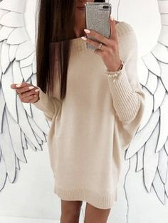 a63c90d0a90 Boat Neckline Solid Oversized Loose Long None Sweaters