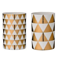 Porcelain Photophore 2pcs, Or/Blanc, Bloomingville