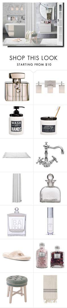 """Bathroom"" by barbara-gennari ❤ liked on Polyvore featuring interior, interiors, interior design, home, home decor, interior decorating, Gucci, Savoy House, Avanti and ferm LIVING"