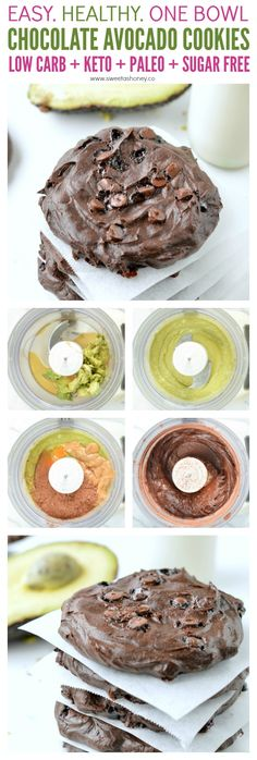10 Keto Chocolate Cookie Recipes ~ Chocolate Lovers Only! Chocolate avocado cookies are healthy fudgy chocolate cookies made of 5 simple ingredients 100 % gluten free + low carb + paleo + sugar free. Low Carb Sweets, Low Carb Desserts, Healthy Sweets, Gluten Free Desserts, Vegan Desserts, Low Carb Recipes, Stevia Recipes, Thai Recipes, Healthy Fats